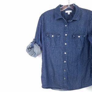 J CREW Women's Convertible Denim Shirt Button Fron